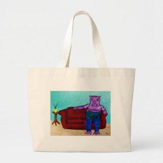 Hippopotamus Cartoon Large Tote Bag