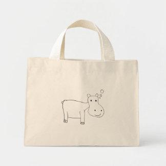 Hippopotamus Drawing in black and white Mini Tote Bag
