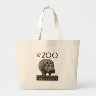 Hippopotamus Vintage WPA Zoo Poster Philadelphia Large Tote Bag