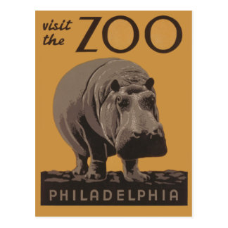 Hippopotamus Vintage WPA Zoo Poster Philadelphia Postcard