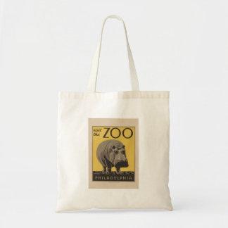 Hippopotamus Vintage WPA Zoo Poster Philadelphia Tote Bag