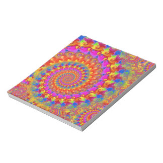 Hippy Fractal Pattern Pink Turquoise & Yellow Notepad