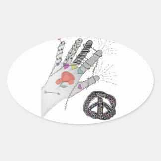 Hippy Hand Tattoo Oval Stickers