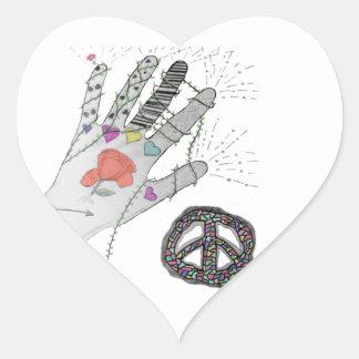 Hippy Hand Tattoo Heart Sticker