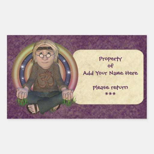 Hippy Meditation Bookplate Stickers