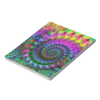 Hippy Rainbow Fractal Pattern Notepad