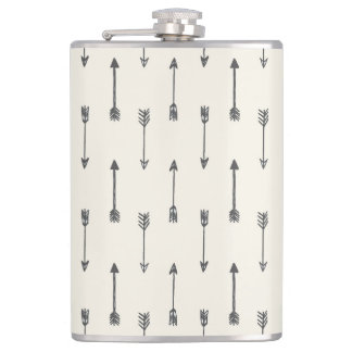 Hipster Arrows Pattern on Cream Flask
