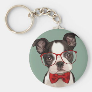 Hipster Boston Terrier Basic Round Button Key Ring