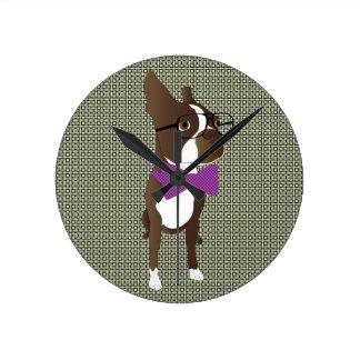 Hipster Boston Terrier Round Clock