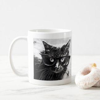 Hipster Cat!  Black Cat w/ Oversized Black Glasses Coffee Mug