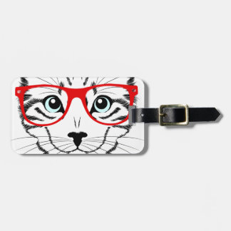 Hipster Cat with Glasses & Bowtie Bag Tag