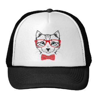 Hipster Cat with Glasses & Bowtie Cap