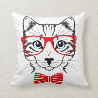 Hipster Cat with Glasses & Bowtie Throw Pillow