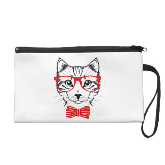 Hipster Cat with Glasses & Bowtie Wristlets