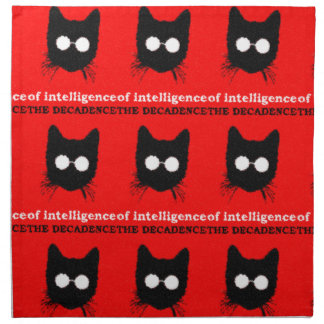 Hipster Cat with Glasses Silhouette – red & black Napkin