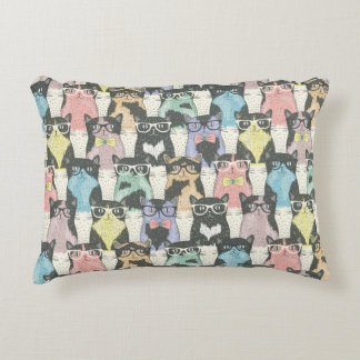 Hipster Cute Cats Pattern Decorative Cushion
