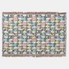Hipster Cute Cats Pattern Throw Blanket