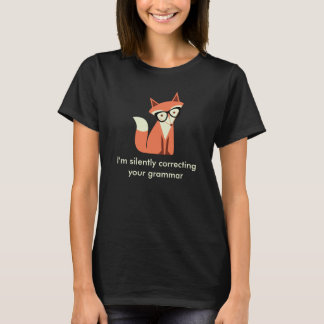 Hipster Fox  Grammar Black T-Shirt