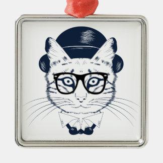 Hipster Geek Cat Christmas Ornament