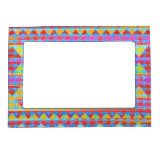Hipster Girly Pink Abstract Tribal Andes Pattern Magnetic Frame