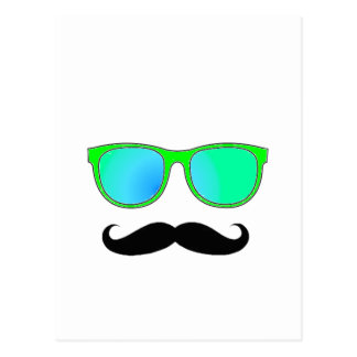 Hipster - Green Mirrored Shades Postcard