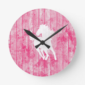Hipster Horse & Rustic Pink Wood Round Clock