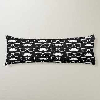 Hipster Mustache and Glasses Dot Pattern Black Body Cushion