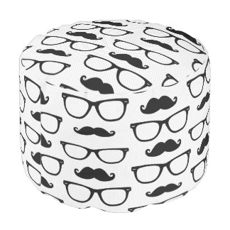 Hipster Mustache and Glasses Dot Pattern Pouf