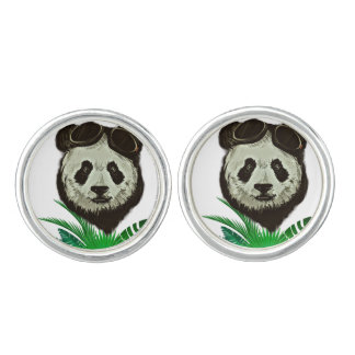 Hipster Panda Bear Animal Cuff Links
