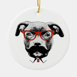 Hipster Pit Bull Terrier Round Ceramic Decoration