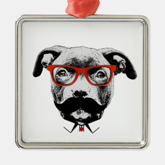 Hipster Pit Bull Terrier Silver-Colored Square Decoration