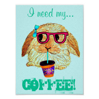 Hipster Rabbit with Coffee Print