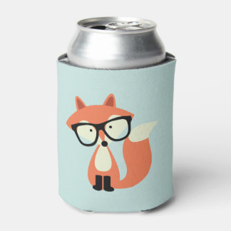 Hipster Red Fox Can Cooler