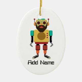 Hipster Retro Robot Christmas Ornament