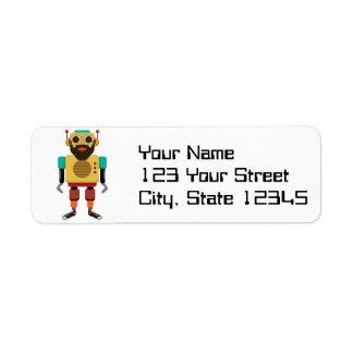 Hipster Retro Robot Return Address Label