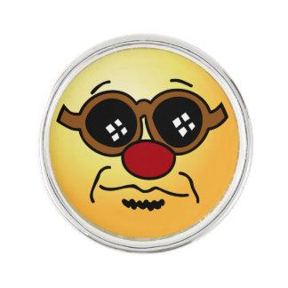 Hipster Smiley Face Grumpey Lapel Pin