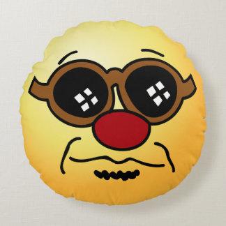 Hipster Smiley Face Grumpey Round Cushion