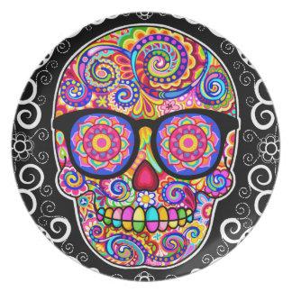 Hipster Sugar Skull Plate - Day of the Dead Art