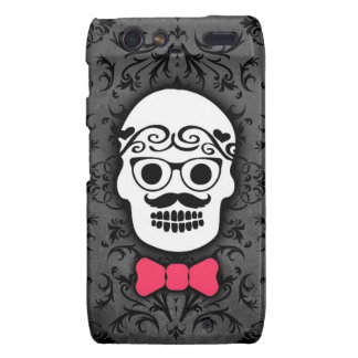 Hipster Sugar Skull with Bowtie Droid RAZR Cases