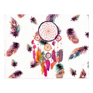 Hipster Watercolor Dreamcatcher Feathers Pattern Postcard