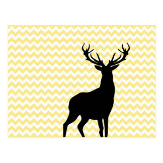 Hipster Yellow Chevrons with Deer Silhouette Postcard