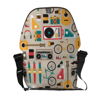 Hipsterrific Hipster Things Pattern (Cinereous) Courier Bags
