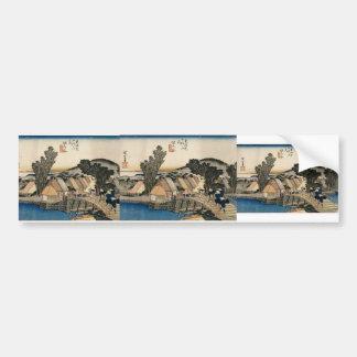 Hiroshige: Hodogaya, Shinkame Bashi, Station 5 Bumper Sticker