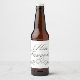 """""""His Favorite"""" Beverage Beer Bottle Label"""
