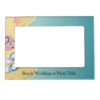 His/Hers Flip Flops on the Beach Wedding Frame Magnets