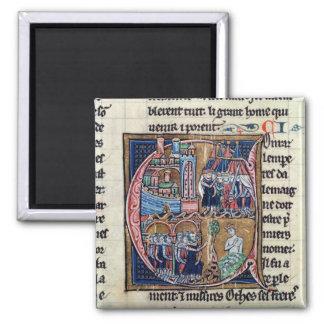 Historiated initial 'C' depicting Conrad III Magnet