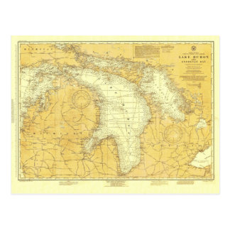 Historic 1918 Nautical Lake Huron Chart Postcard