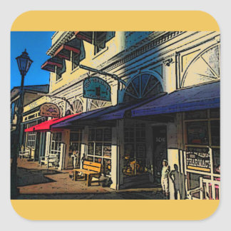 Historic Down Town of Vintage Hot Springs Virginia Square Sticker