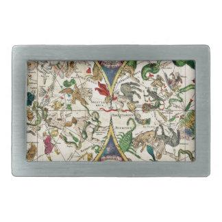 Historic Zodiac Map, 1670 Rectangular Belt Buckle