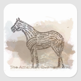 History of the American Quarter Horse in Typograph Square Sticker